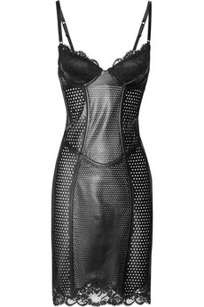 Lace-trimmed perforated leather corset dress