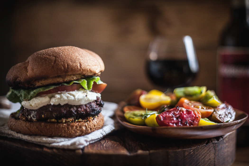 Red Wine Burgers with Mushrooms, Goat Cheese, & a Tomato Salad ...