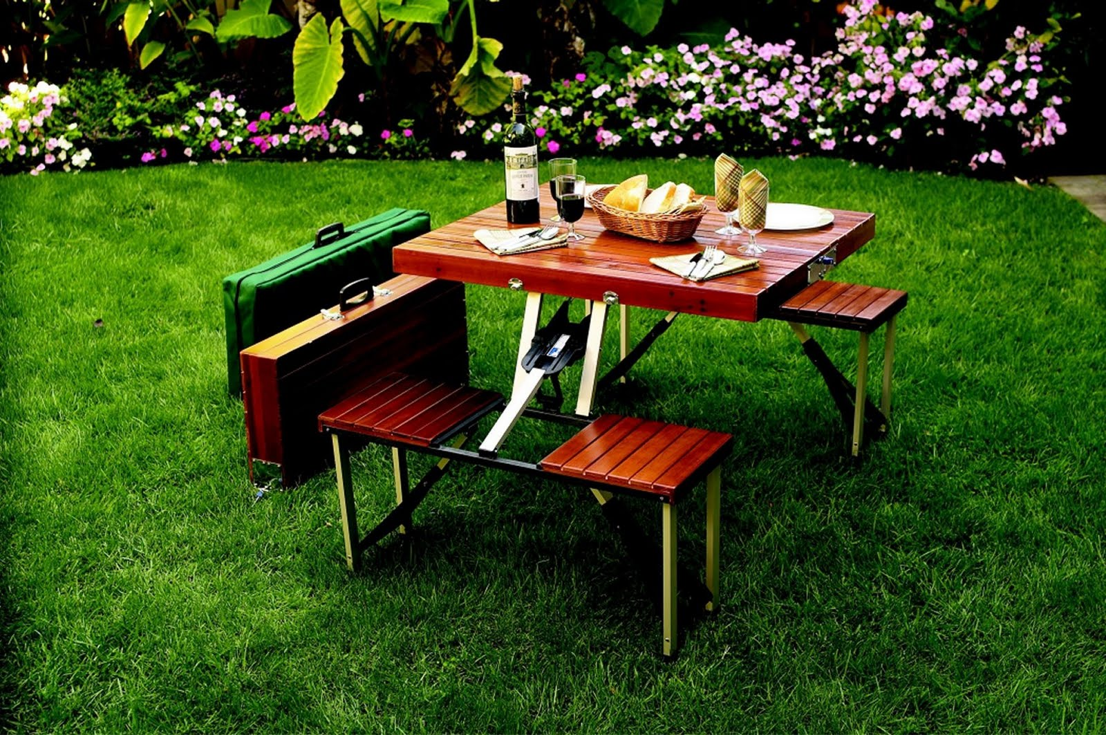 Picnic Table Set : Party Picnic: Picnic Wooden Folding Table Set