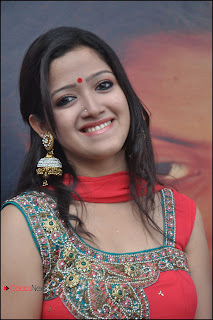 Abirami Pictures in Red Salwar Kameez at Kerala Nattu Pengaludan Movie Audio Launch  0002