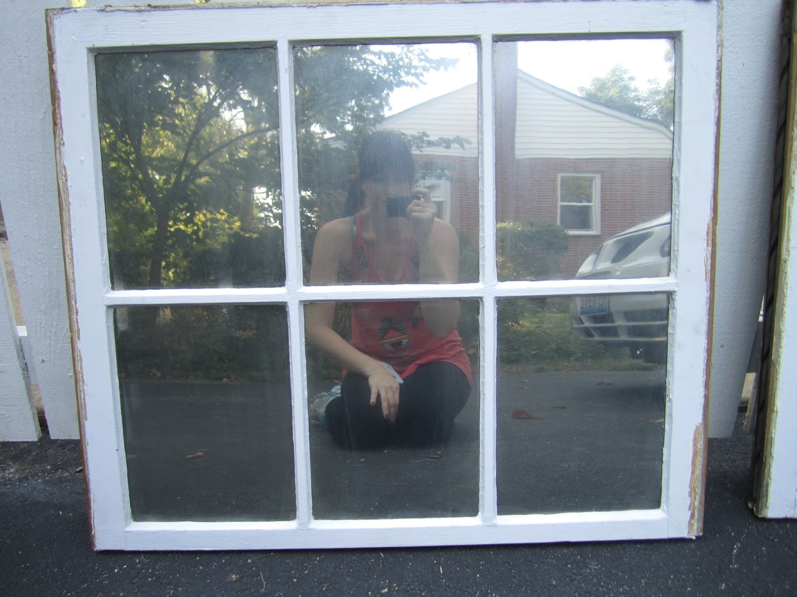 Tales from a cottage turning old windows into mirrors for Old window project ideas