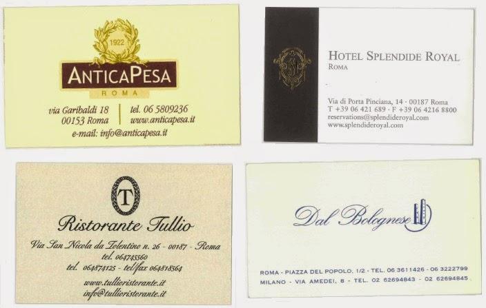imagen de  tarjetas de restaurantes en Roma,Italia