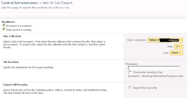 site collection export