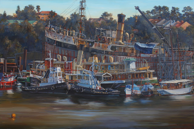 plein air oil painting by Marine Artist Jane Bennett of Sydney Heritage Fleet at Rozelle'