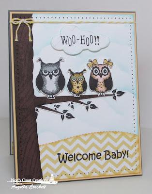 NCC Who Loves You?, NCC Custom Owl Family Dies, ODBD Noah's Ark, ODBD Wood Background, ODBD Custom Clouds and Raindrops Dies, ODBD Custom Leafy Edged Borders Dies, Card Designer Angie Crockett