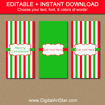 Mini Candy Bar Wrappers Template for Christmas