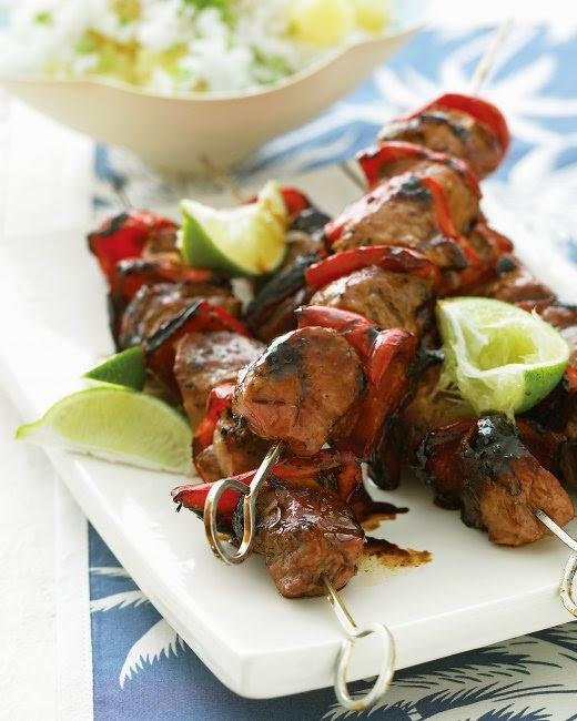 Pacific Pork Kebabs w/ Pineapple Rice recipe from Martha Stewart