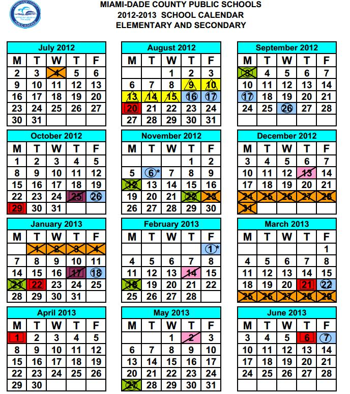 Calendario Escolar Miami Dade 2015 | Calendar Template 2016