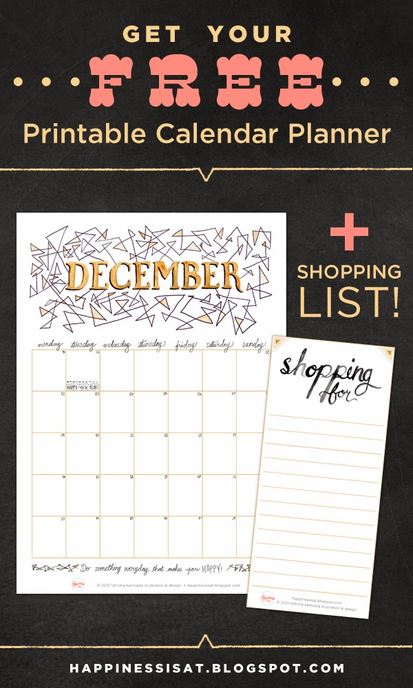 Happiness is... free December 2013 calendar planner & shopping list printable download