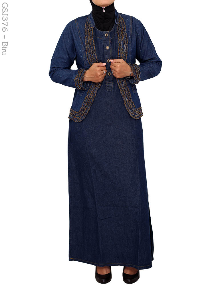 Gamis Jeans Muslimah Gsj376 Busana Muslim Murah Terbaru
