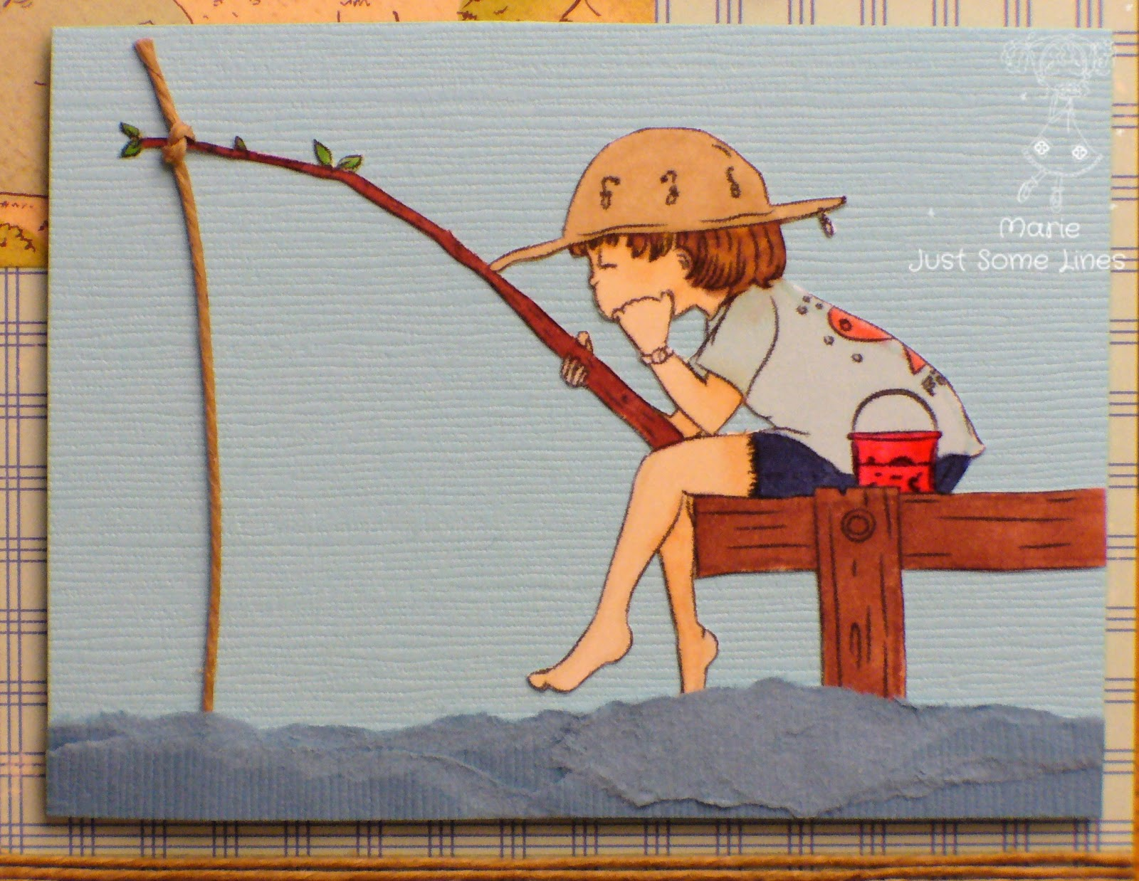 Cardmakingbird little boy fishing for Little boy fishing