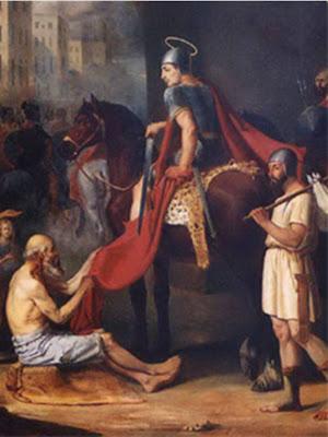 San Martin vestido de romano cortando su capa con espada para darsela al mendigo