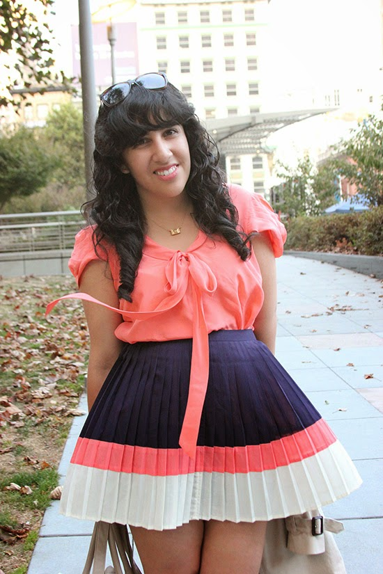 Coral Blouse and Coral and Navy Pleat Skirt