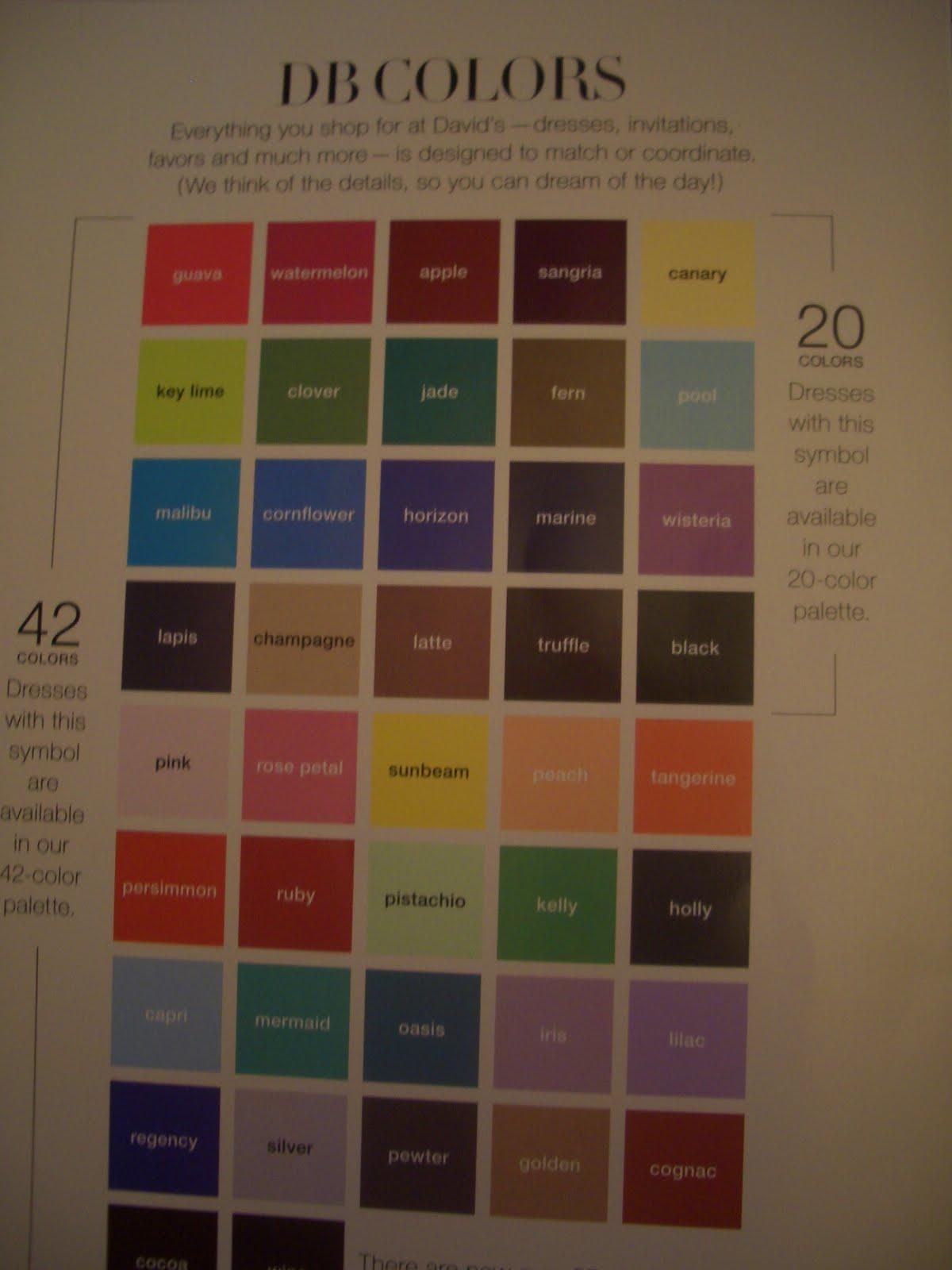 Davids bridal dress color chart wedding short dresses davids bridal dress color chart ombrellifo Image collections