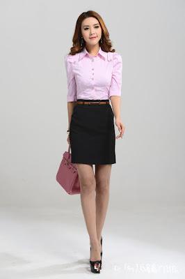 Model Baju Kerja Lengan Pendek Kombinasi Rok Pendek Hitam Wanita