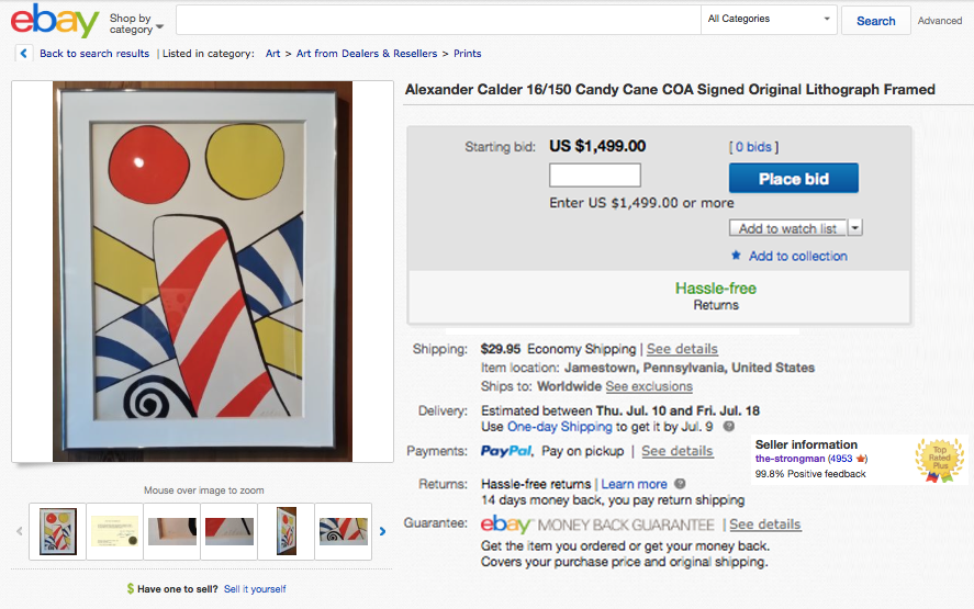 Counterfeit Calder Lot listed on eBay in July 2014
