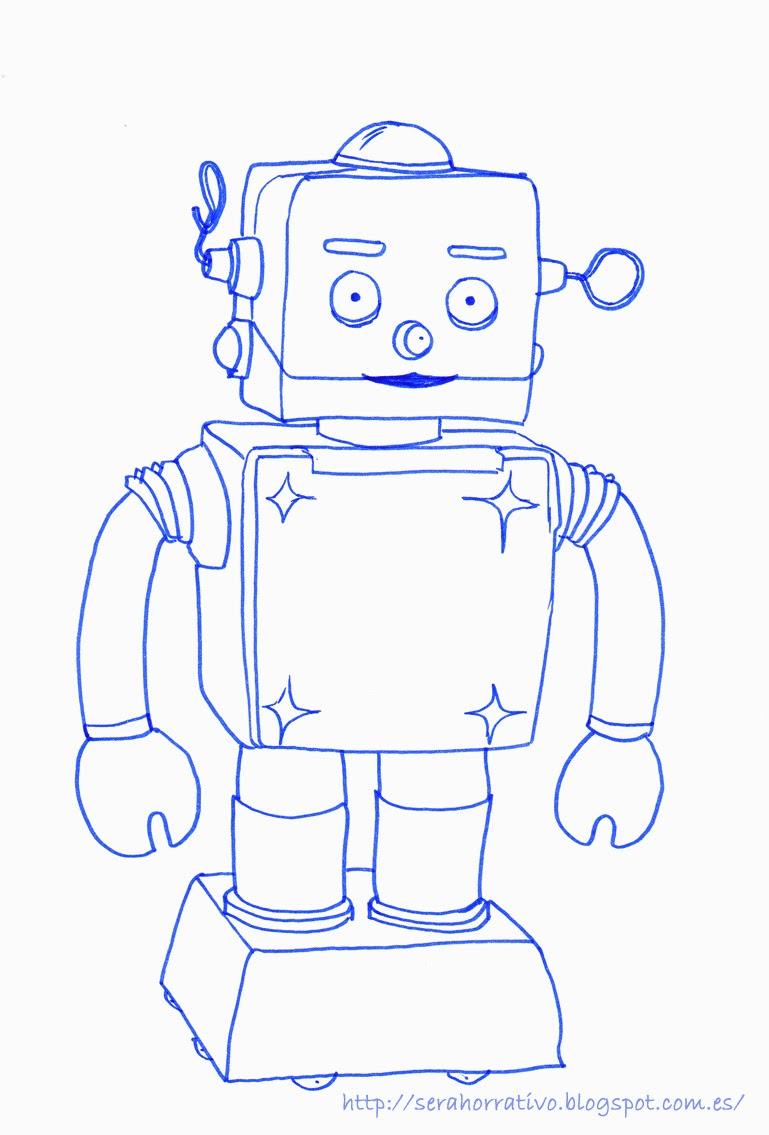 robot dibujo, colorear