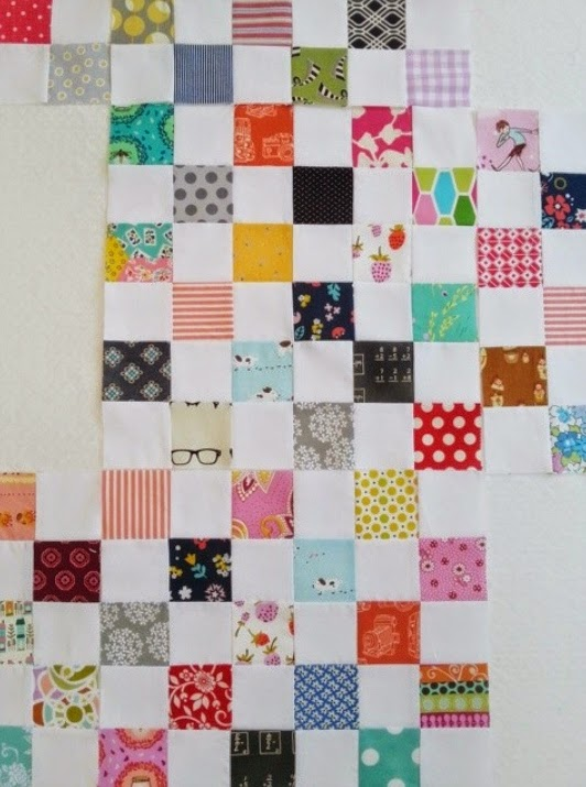 Postage Stamp Quilt Squares Close Up
