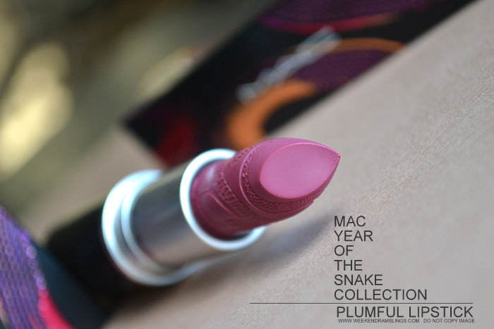 MAC Lipstick Plumful Year of the Snake Makeup Collection Indian Beauty Blog Darker Skin Reviews Swatches FOTD Looks YOTS