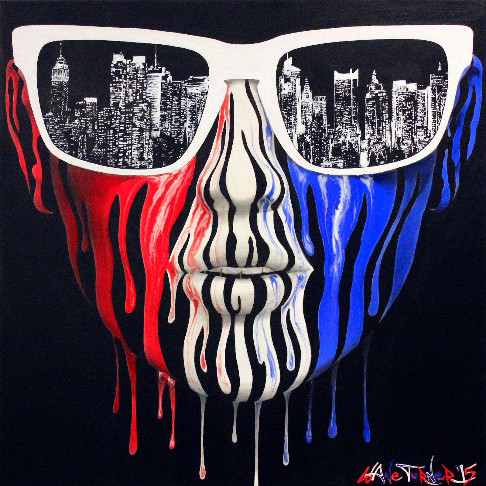 Surreal Acrylic painting of portrait of a woman's face made of dripping red, white, and blue paint, wearing sunglasses with the reflection of the city lights of New York City skyline at night.