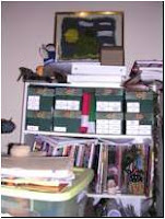 sewing studio shelves with photo boxes, magazines and too much clutter