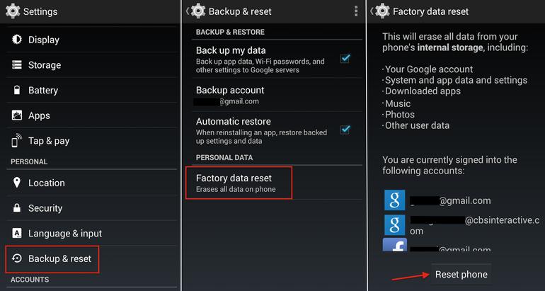 Hard Reset LG Optimus F3 VM720 using menu
