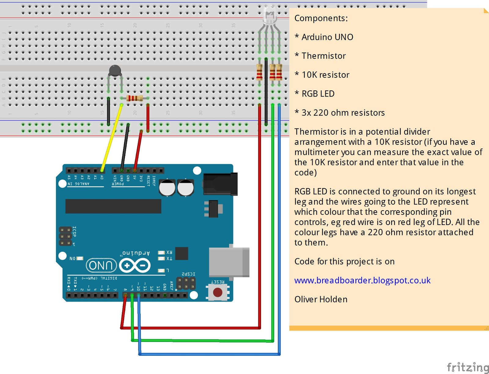 Breadboarders: Arduino with a thermistor and RGB LED