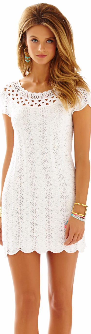 LILLY PULITZER JAIMIE KNIT LACE SHIFT DRESS WHITE
