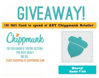 Enter to win a $50 gift card to Chippmunk.com, ends 7/24