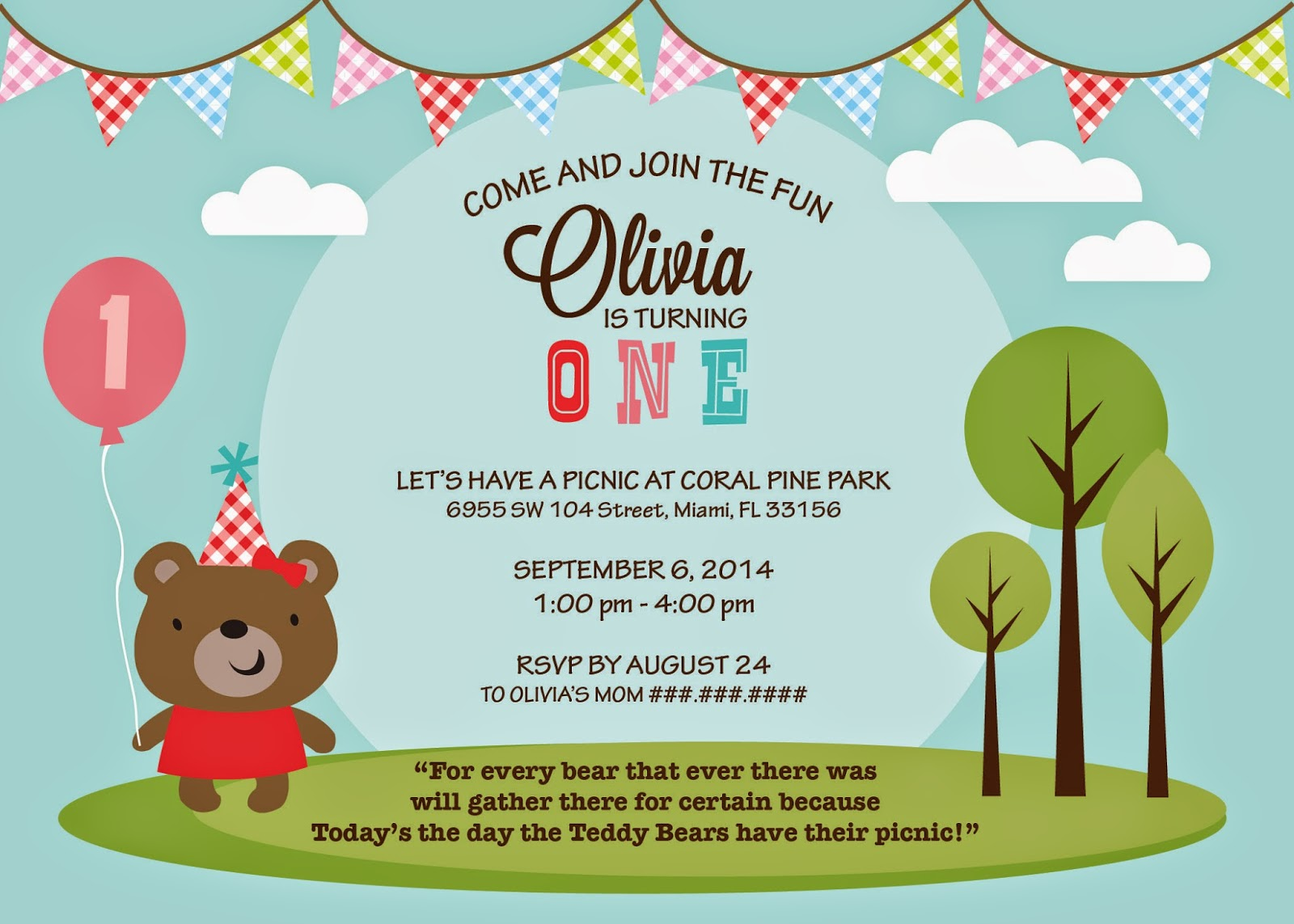 Mind My Beeswax Olivias Teddy Bears Picnic 1st Birthday Party – Teddy Bears Picnic Party Invitations