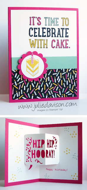 VIDEO: 7 Birthday Cards using Stampin' Up! Party Pop-Up Dies from 2016 Occasions Catalog #stampinup #birthday www.juliedavison.com