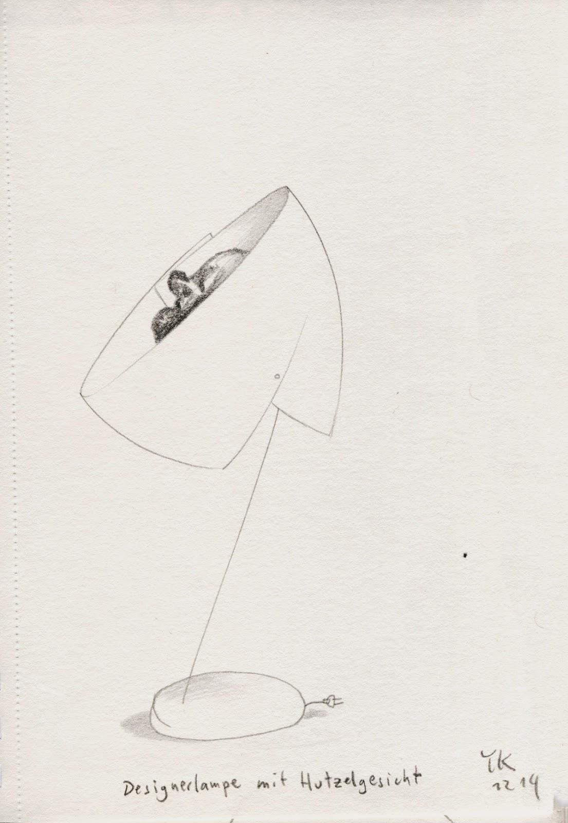 Zeichnung des Tages: Designerlampe mit Hutzelgesicht