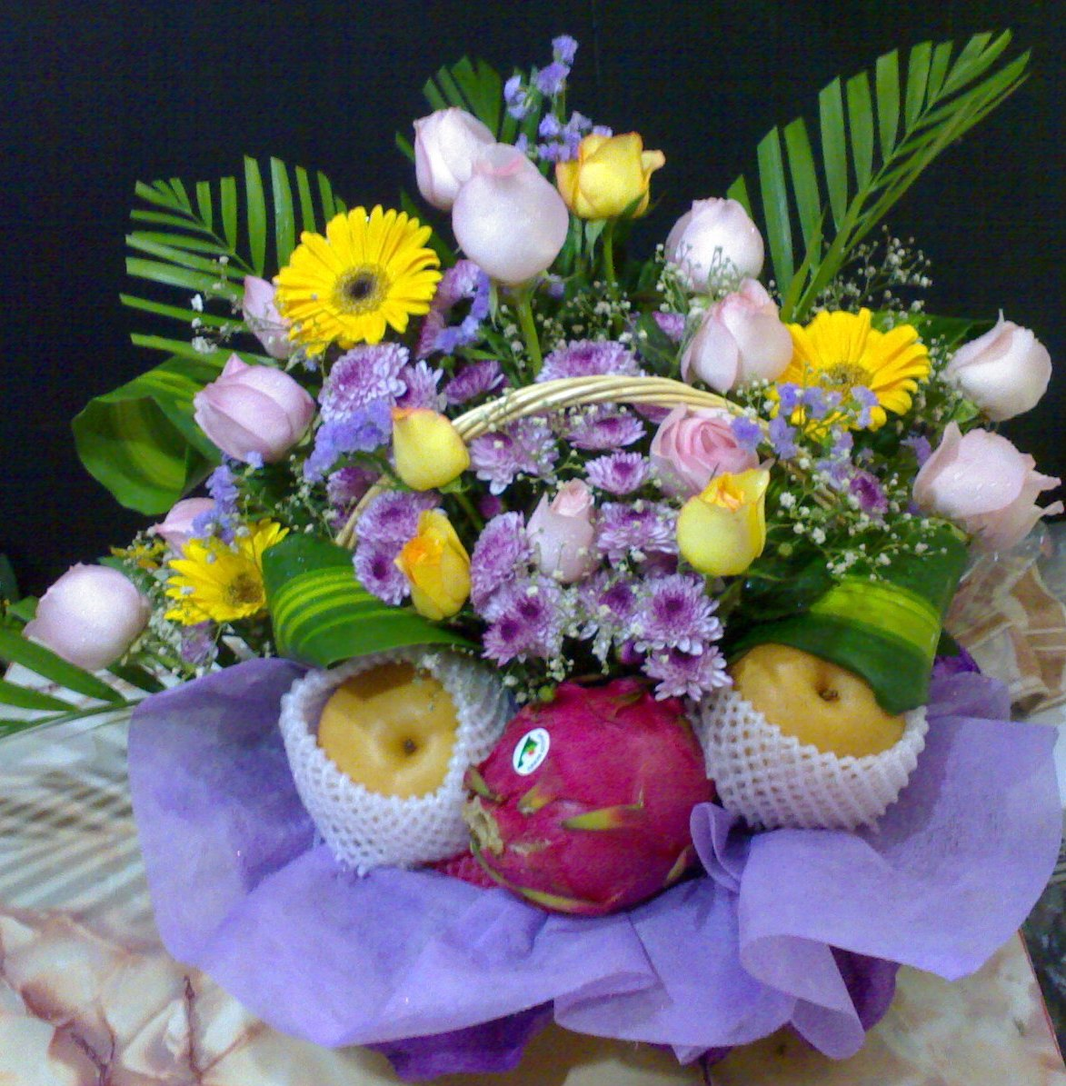 E Flower Gift Fruit Flower Basket
