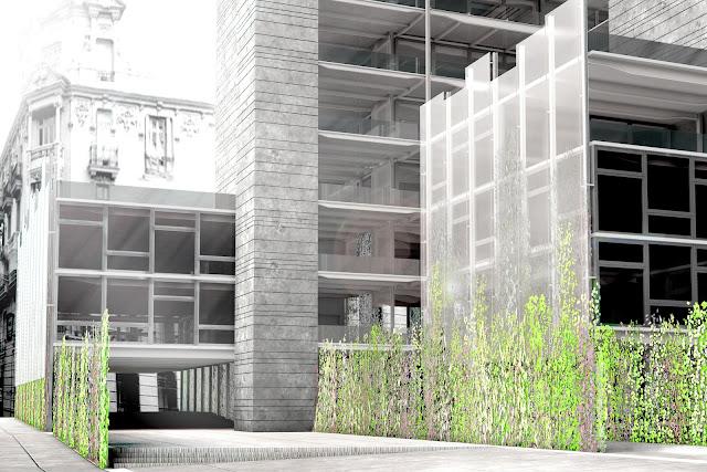 RENDERS 3D PFC - Vista 3d fachada para el PFC ETSAM de Sara Sánchez-Rubio Lezcano - ETSAM UEM UCJC ESAYT USPCEU USP CEU IE UAX UAH UPM ETSA