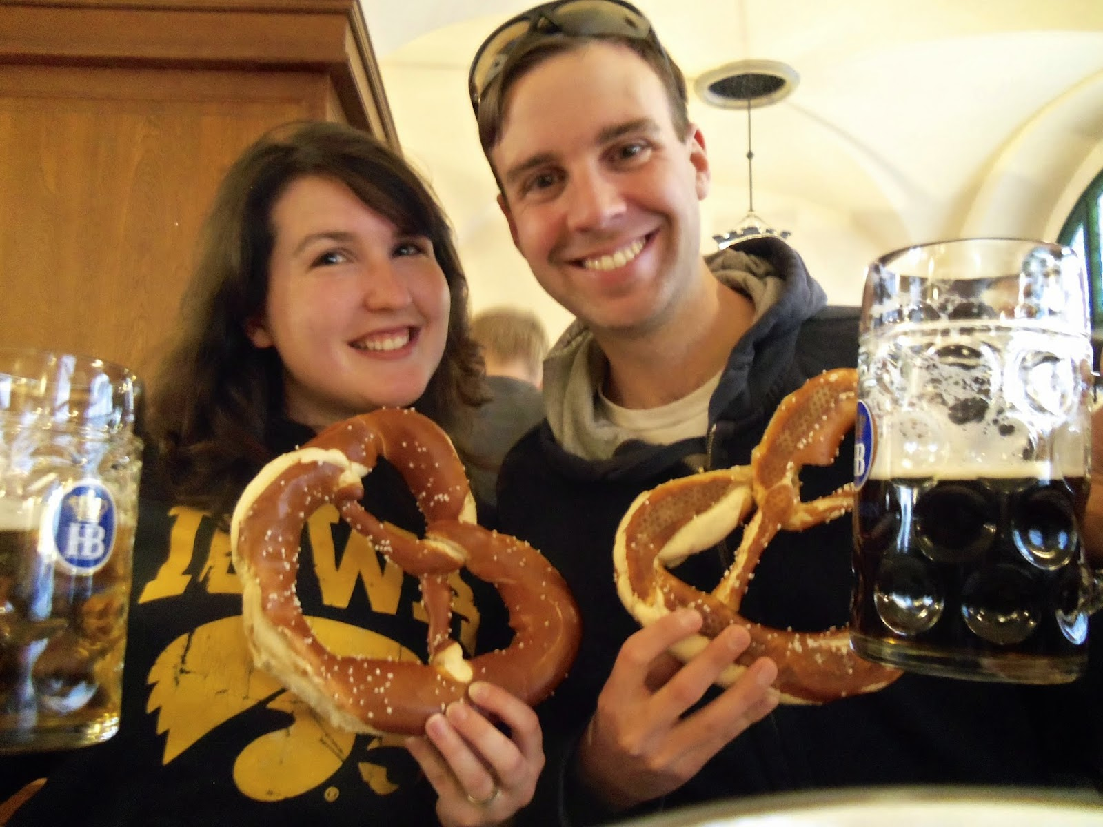 Beer, Pretzels, and Hawkeyes at Hofbrauhaus Munich Germany