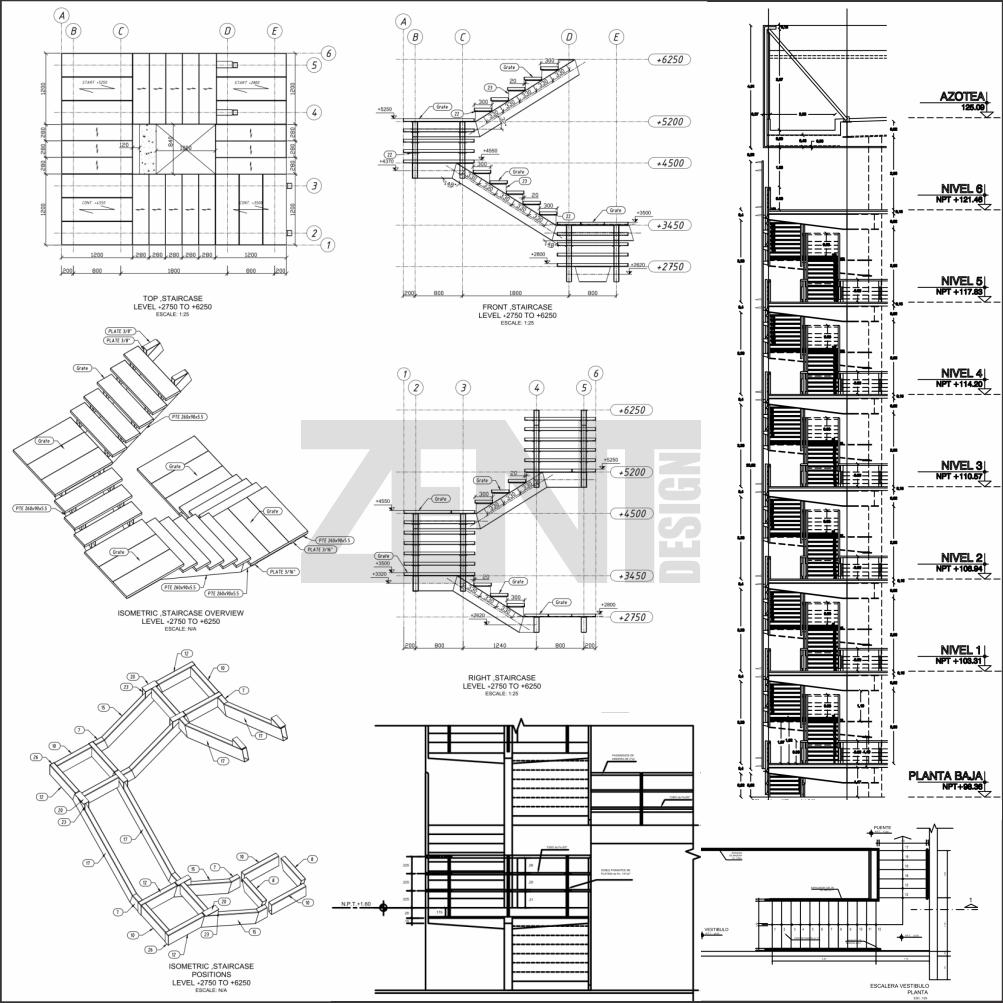 Escaleras metalicas planos metal stairs zent design 2d for Planos de escaleras de concreto armado