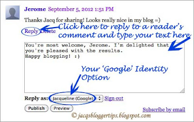 Screenshot to show choosing the ID option 'Google' when commenting on Blogger