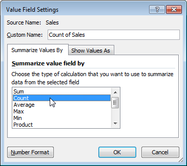thay đổi giá trị tính pivot table 3