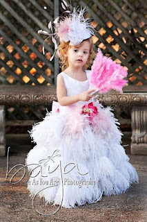 Feather Flower Girls Dress