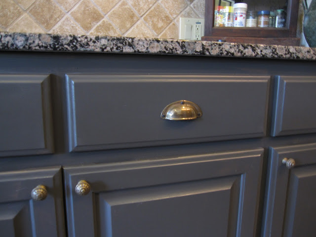 dark grey kitchen cabinets, kitchen update with hardware