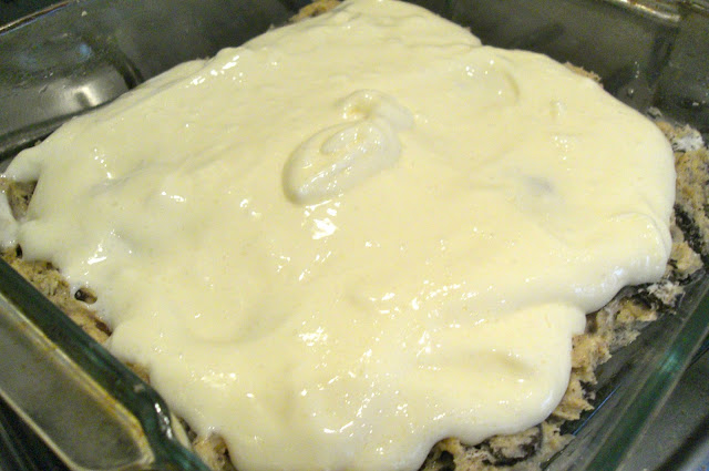 pouring in the cheesecake layer
