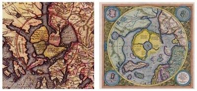 Els mapes amb les terres d'Hiperborea al pol nord antic de Gerard de Jode (1593) i de Rudolf Mercator (1595)