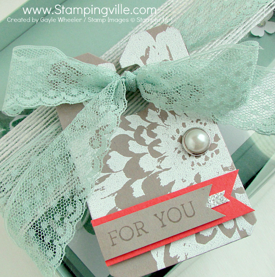 Photo image of Chalk Talk Gift Tag with embossed Definitely Dahlia background stamp.