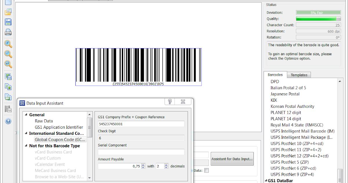 Coupon gs1 databar