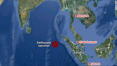 >Two Massive 8.6 & 8.2 Magnitude Earthquakes Strike West Of Northern Sumatra