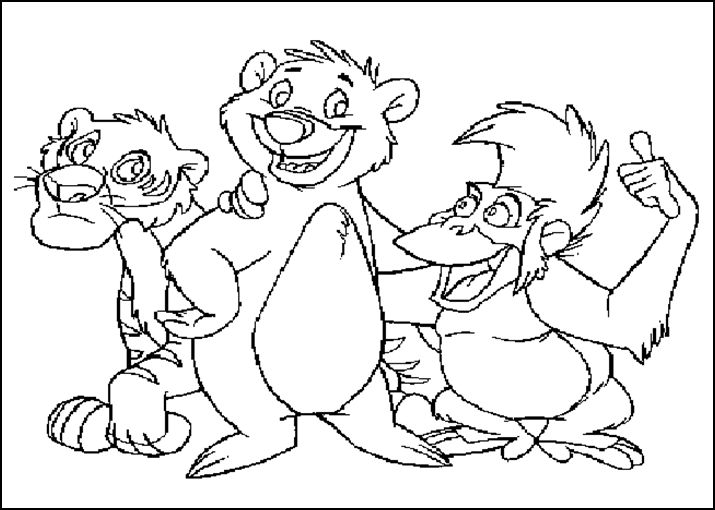 Dibujos animados para colorear: El libro de la selva para colorear