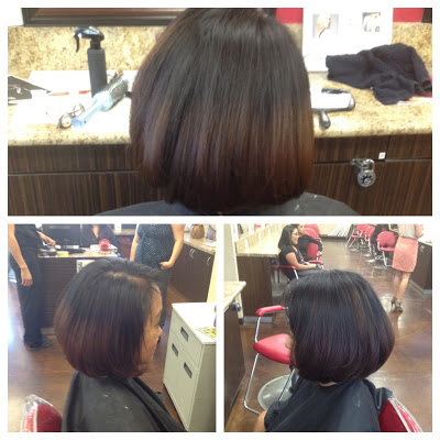 Haircut and color at Bellus Academy