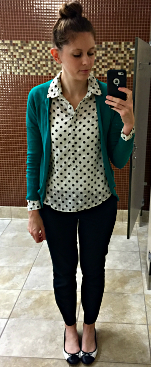 Pinspired Outfits Lately - Polka dot top + green cardigan