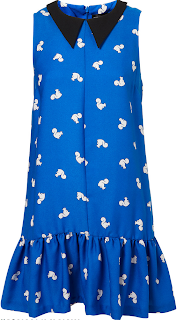 Black, Blue, Bright, Collar, Collar Detail, Contrast, Drop Waist, Hem Detail, Laura Whitmore, Pleated, Seam Detail, Sleeveless, Squirrel Print, Topshop, White