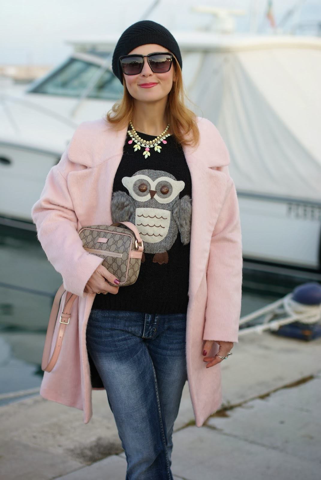 oversized pink coat, gucci pink bag, owl sweater, fashion and cookies, fashion blogger